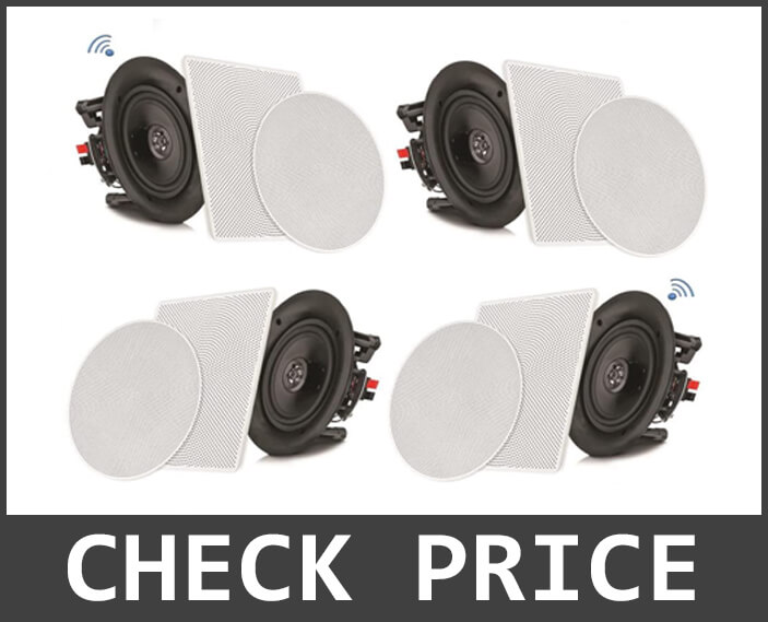 Pyle 8 inch 4 Bluetooth Flush Mount – In-wall In-Ceiling 2-Way Speaker System