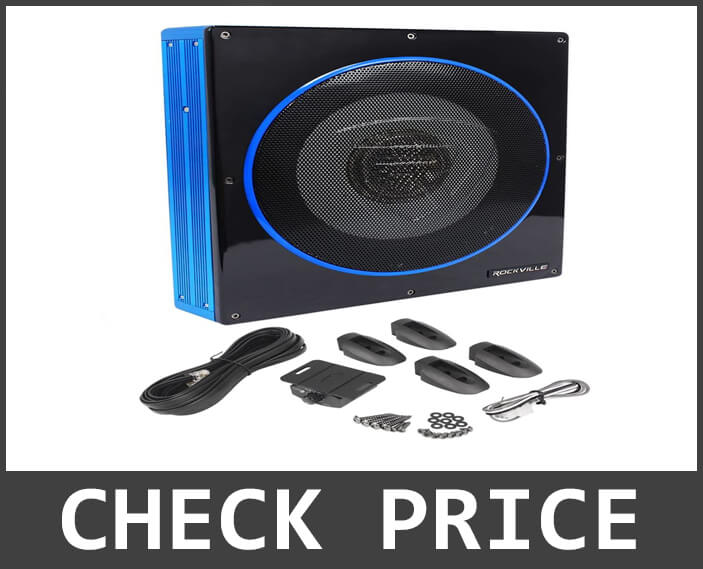 Rockville 10 Inch Slim Low Profile Active Powered Underseat Subwoofer